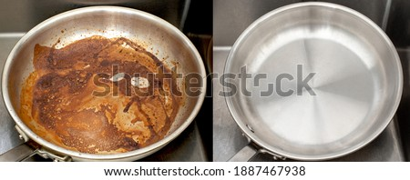 Compare image before and after cleaning the unclean able stained pot from burnt cooking pan. The dirty stainless steel pan with the clean pan clean shiny bright like new in the kitchen sink. Stockfoto ©