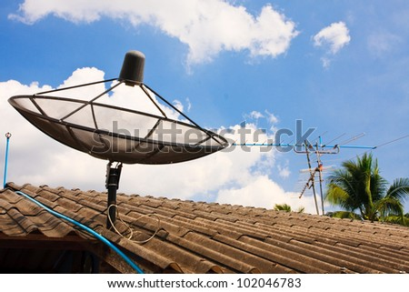 Compare Old analog antennas  VS modern analog  satellite with blue sky