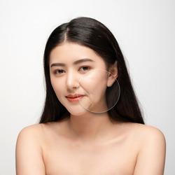 Comparison. Asian woman with problem and clean skin. beauty concept skin aging. anti-aging procedures, rejuvenation, lifting, tightening of facial skin, restoration of youthful skin anti-wrinkle