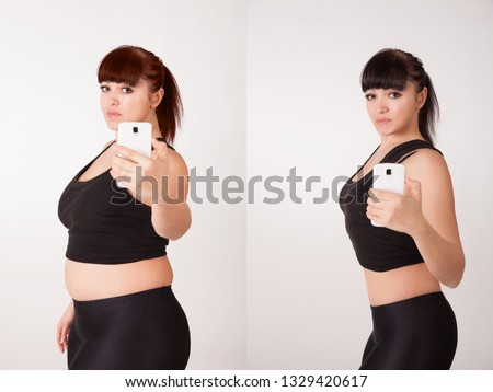 Comparison before and after weight loss. Thick and thin woman. Fat deposits on the abdomen and thighs. Cellulite Indications for liposuction. The concept of a healthy lifestyle. Proper nutrition. Diet