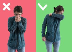 Comparison between wrong and right way to sneeze to prevent virus infection. Caucasian woman isolated on colored background sneezing,coughing into her arm or elbow to prevent contagion