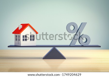 comparison, compare, seesaw, difficulty solving Mortgage loan symbol - search universal solution - 3d render