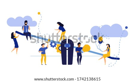 Comparison employee business people illustration. Advocate person unbalanced weight. Woman and man on swing outweigh concept idea design. Solution choice value human. Problem banner job team Stock photo ©