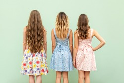 Comparison hairstyle with three woman. Rear portrait of three young female friends in cute dresses. Young girls standing back in front of green background. Indoor, studio shot