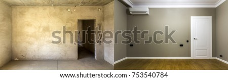 Comparison of a room in an apartment before and after renovation. New house.