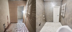 Comparison of bathroom in apartment before after renovation. Big light new bathroom in grey tones with white warm tiled floor, white doors vs unfinished room, empty doorway, floor heating pipe system
