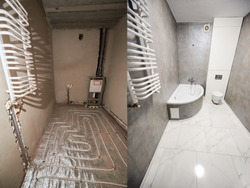 Comparison of bathroom in apartment before and after renovation. Interior of a modern bathroom in grey tones, white tiles on warm floor and ladder radiator on wall vs empty unfinished walls
