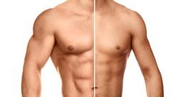 Comparison of bodybuilding progress. Male torso on white background.