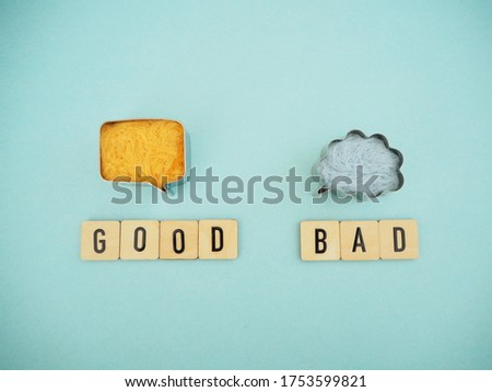 Comparison of good and bad points Stockfoto ©