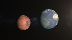 Comparison of the planets Mars and earth. Diameters of the planets Mars and Earth. Colonization of Mars. Mars is our future home. Space and planets of the solar system.
