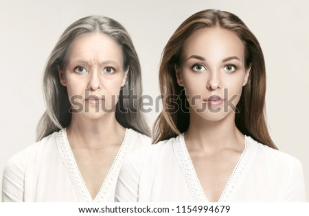 Comparison. Portrait of beautiful woman with problem and clean skin, aging and youth concept, beauty treatment and lifting. Before and after concept. Youth, old age. Process of aging and rejuvenation #1154994679