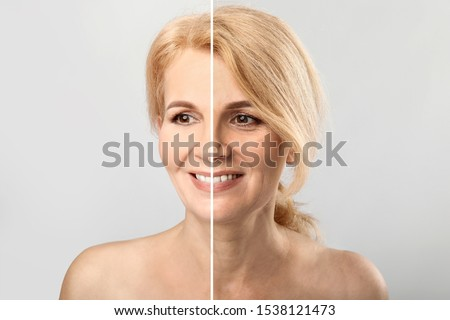 Comparison portrait of middle-aged woman on light background. Process of aging #1538121473
