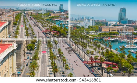 Photo of  Comparison 3840x2160 4K Ultra HD with 1920x1080 Full HD. Barcelona city, Spain.