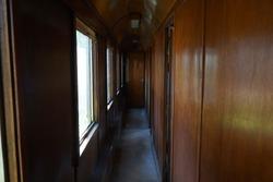 compartment corridor of a wooden train