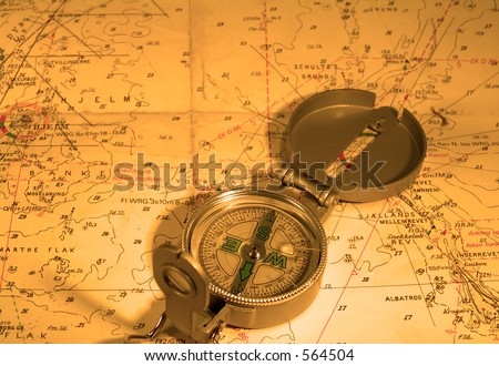 Compas, nautical map. Both navigational tools