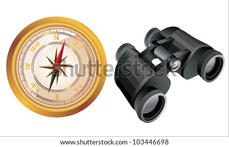 Compass and binoculars on white. concept of search