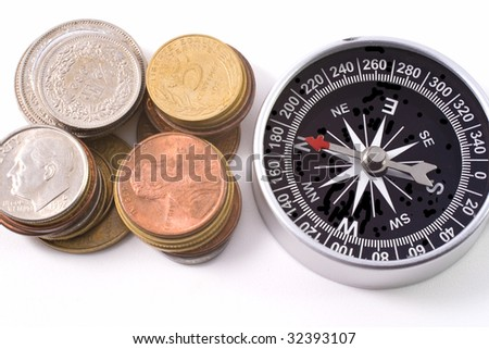 Compass and dices isolated on white background