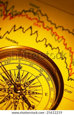 compass and financial graph - stock photo