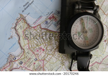 compass and map of brittany