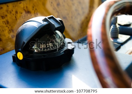 Compass and rudder on a yacht.