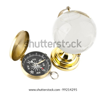 compass and the globe on a white background
