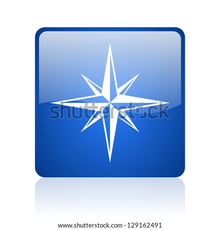 compass blue square glossy web icon on white background