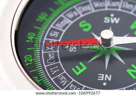 compass closeup. instrument that indicates magnetic north - stock photo