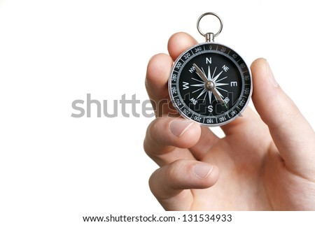 compass in hand on a white background close-up