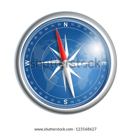 compass isolated on white realistic illustration