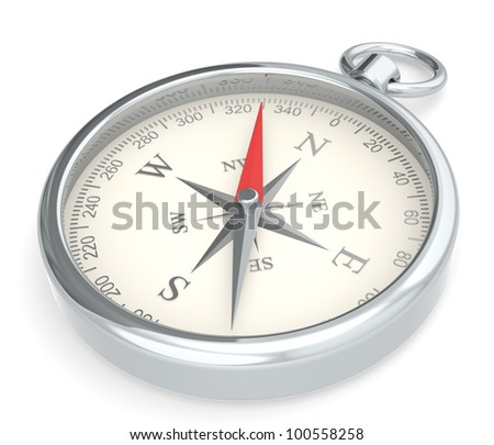 Compass. Metal Compass on white background.