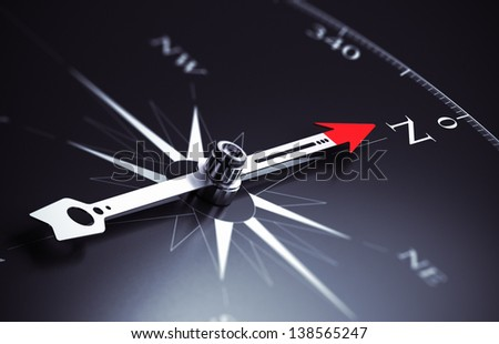 Compass needle pointing to north direction, image suitable for business consulting concept. 3D render illustration.
