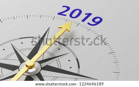 Compass needle pointing to the text 2019
