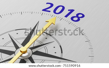 Compass needle pointing to the text 2018 - 3d rendering
