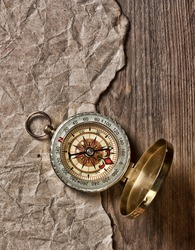 compass, old paper and rope, still-life