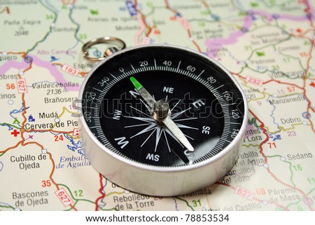 compass on a road map