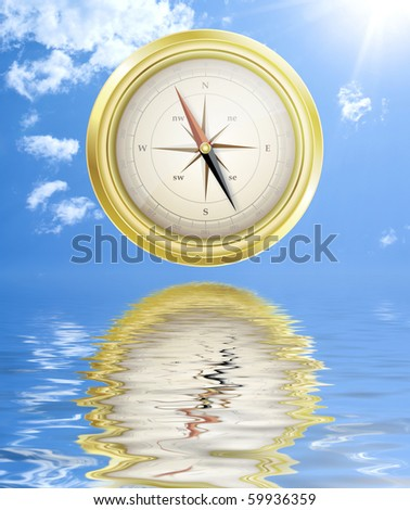 Compass on a sunny sky background