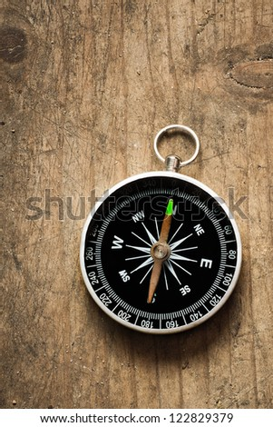 Compass on a wood deck - stock photo