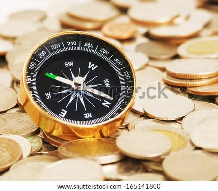 compass on money background