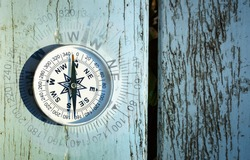 compass on old wood table, find the right direction concept, flat top view