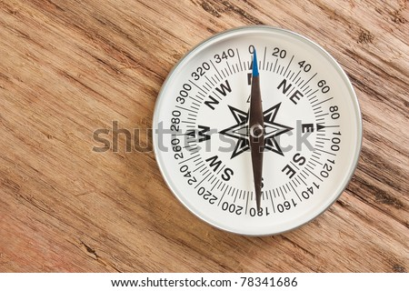 compass on the background of the old wooden planks