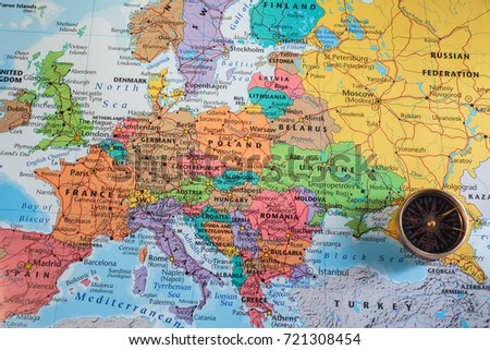 compass on the map of europe #721308454