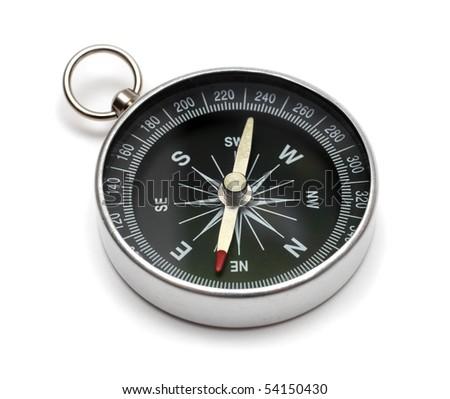 compass on white backgroun - stock photo
