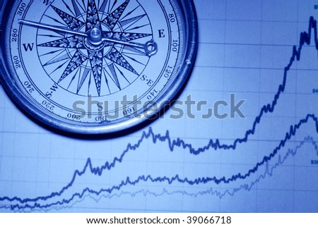 Compass over financial graph (toned blue) ,concept.