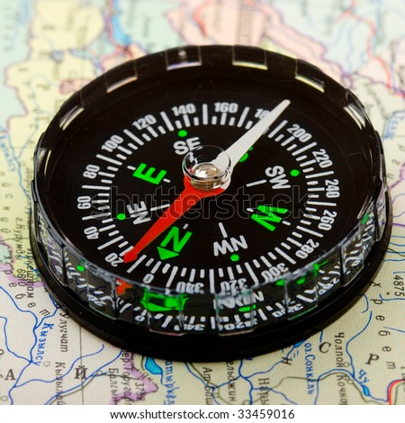 Compass over map to background