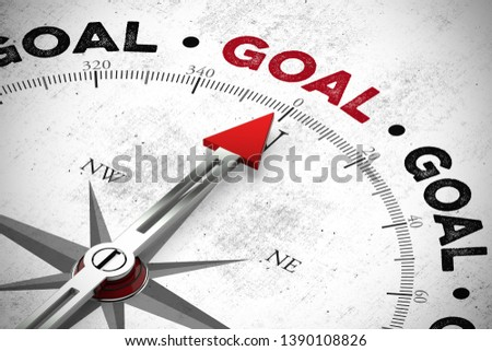 Compass points to the word goal / goal with a red compass needle (3d rendering)