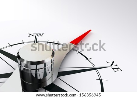 compass rose and magnetic needle on white background