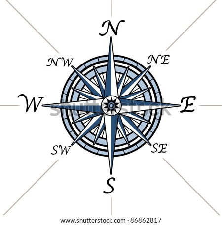 Compass rose on white background representing a cartography positioning direction symbol for navigation and setting a chart for exploration to the north south east or west.