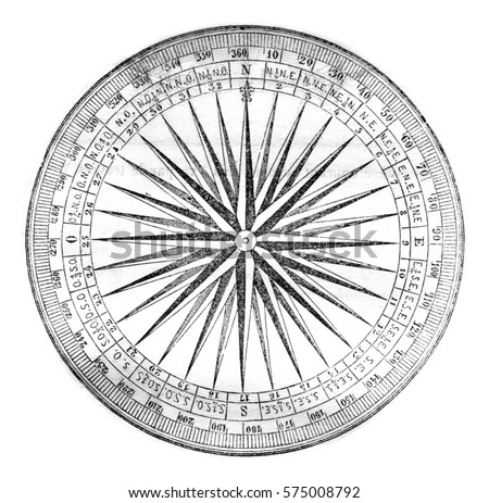 Compass rose or rose of the winds, vintage engraved illustration. Magasin Pittoresque 1842. Photo stock ©