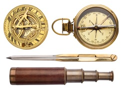 Compass, sundial, telescope, divider isolated on white background. Vintage sea collection.