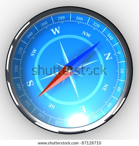 Compass with blue dial on white background with shadow